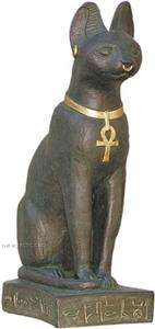 BASTET EGYPTIAN CAT STATUE SCULPTURE BOND STONE BRONZE