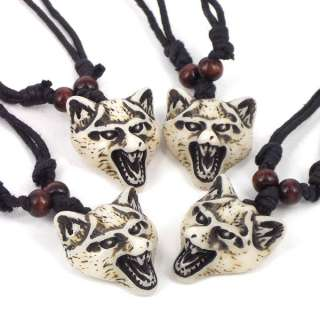 Jewely 4pcs Cool Men Wolf Head Tibet Yak Bone Necklace