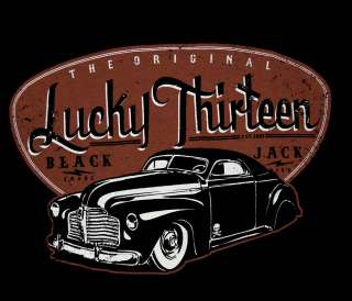 Lucky 13 Thirteen Black Jack Muscle Car Skull T Shirt Tee