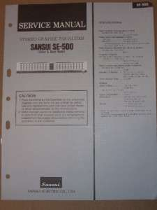 Sansui Service/Repair Manual~SE 500 Graphic Equalizer~Original