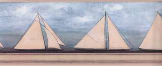 WALLPAPER BORDER DAVID CARTER BROWN SAIL BOATS