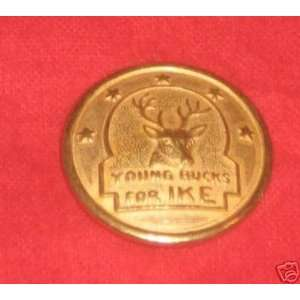 campaign pin pinback YOUNG BUCKS FOR IKE 7/8