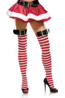 Striped Thigh High Stockings with Belt Buckle Top for Halloween   Pure