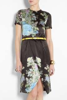Preen by Thornton Bregazzi  Black Akiko Split Hem Print Dress by