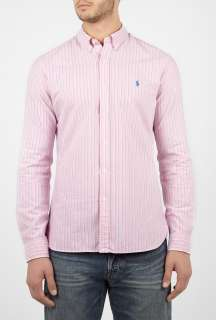 Polo Ralph Lauren  Pink Stripe Washed Oxford Slim Fit Shirt by Polo