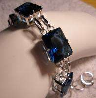 40ct tw Emerald Cut Blue Sapphire Sterling Silver 925 Chain Link