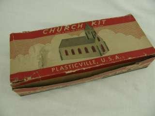 Vintage Plasticville Model RR Railroad Village Scale Church Building w