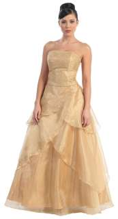 BRIDESMAID EVENING DRESS FORMAL + PLUS SIZE STRAPLESS GOWN CORSET