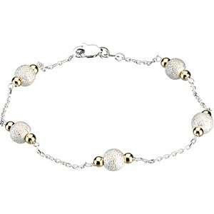 Sterling Silver & 14K Yellow Gold 07.50 INCH Bead Bracelet Jewelry