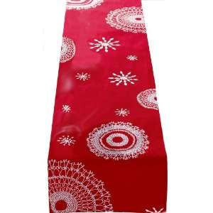 Tag Alpine Snowflake 100 Percent Cotton Embroidered Table Runner