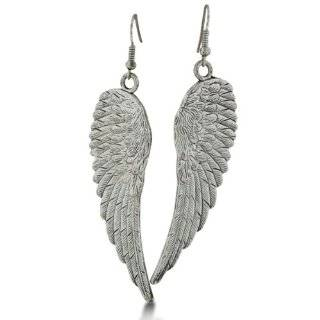 Beautiful Feather Detailed Angel Wing Earrings with Crystals 2 Drop