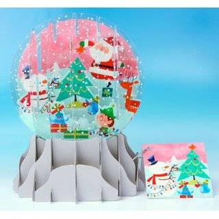 Christmas Greeting Card Pop up 3 d Snow Globe Holiday Dogs