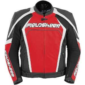Mens Leather Street Bike Racing Motorcycle Jacket   Red/Black / Small