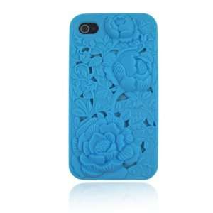 Baby Blue 3 D Rose Flower Silicone Case for Iphone 4 & 4S