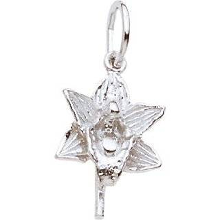 Silver Orchid Charm Pendant Necklace with 18 Chain Flower Jewelry