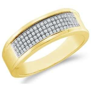 Micro Pave Set Round Cut Mens Diamond Wedding Ring Band 7mm (1/4 cttw