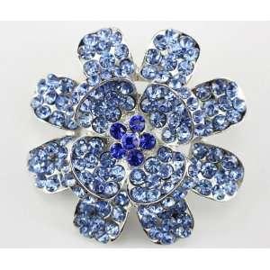 Blue Swarovski Crystal Flower Brooch Pin