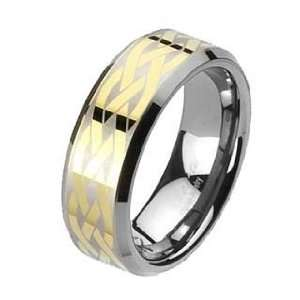 8MM High Polished Gold Plated Tungsten Ring with Brushed Laser Etched