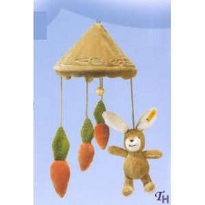 Happy Rabbit with Carrots Nursery Mobile for Baby. Deluxe Baby Gift