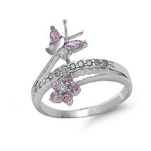 Sterling Silver Pink CZ Flower & Butterfly Ring Size 9 Jewelry