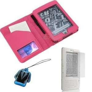 GTMax Hot Pink Wallet Leather Case + Clear LCD Screen