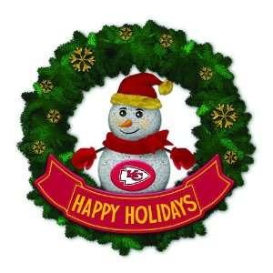 Chiefs Lighted Snowman Artificial Christmas Wreath
