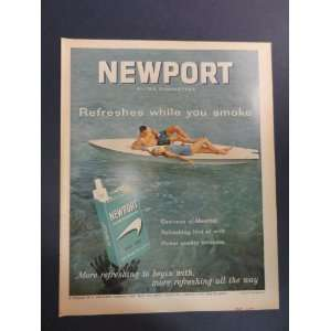 Newport Filter Cigarettes. 1963 full page print advertisement. (man