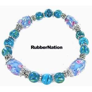 Glass & Silver Bali Bead Bracelet TURQ BLUE 24 Arts, Crafts & Sewing