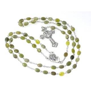 Celtic Rosary   Silver Toned Irish Celtic Cross with Green