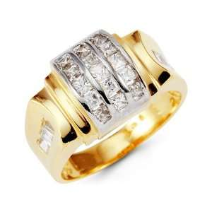 Mens 14k Yellow White Gold Princess CZ Arch Crown Ring Jewelry