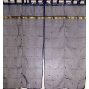 India Organza Sequin work 2 Sheer Curtains Panels 78in: Home & Kitchen
