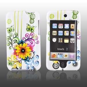 for iPod Touch 2 & 3 Hard Case Rainbow Floral WHITE