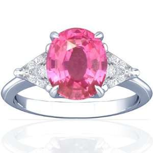 18K White Gold Oval Cut Pink Sapphire Three Stone Ring Jewelry