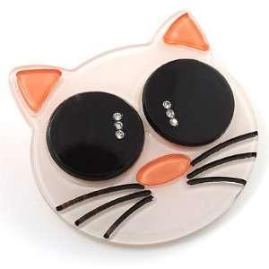 Funky White Plastic Cat Brooch Jewelry