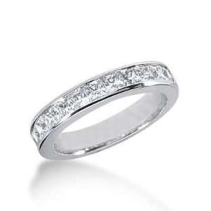 18K Gold Diamond Anniversary Wedding Ring 11 Princess Cut Diamonds 1