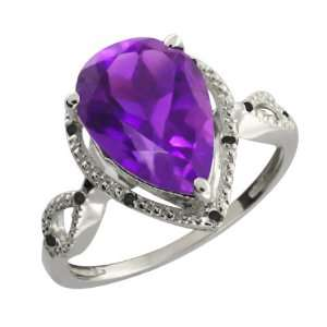 67 Ct Pear Shape Purple Amethyst and Black Diamond 10k White Gold Ring