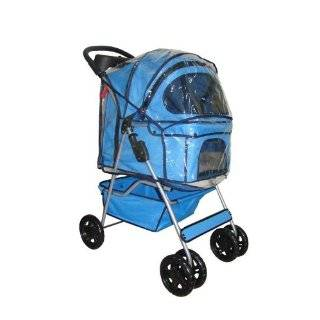Classic Blue 4 Wheel Pet Stroller with Free Rain Cover
