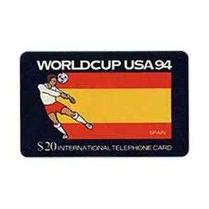 Collectible Phone Card $20. World Cup USA 94 Soccer   Spain Flag