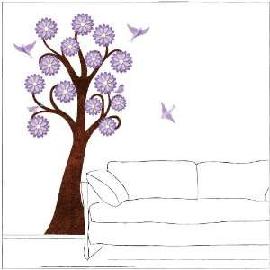 6 foot Lavender Flowering Tree Wall Sticker and Birds for