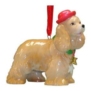 Holiday Cocker Spaniel Dog Ornament Statue Figurine Home & Kitchen