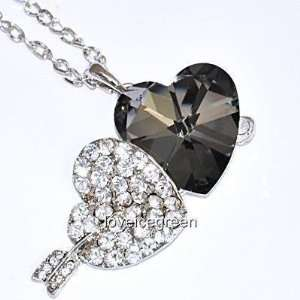 Glass Pendant Necklace 18kgp White Gold Plated [Cn18]