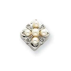 10k White Gold Cultured Pearl and Diamond Bracelet Slide