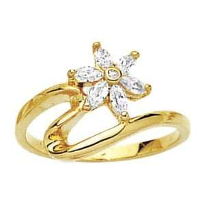 18K Gold Plated Clear Cubic Zirconia Flower Ring   Size 9