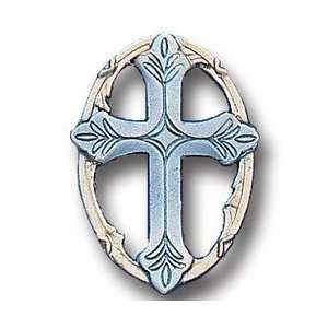 Pewter 3 D Collector Pin   Cross in Oval Sports