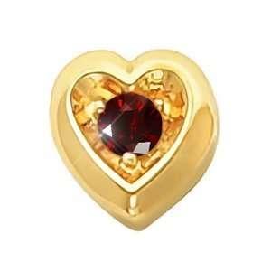 Heart Shape 18K Yellow Gold Pendant with Deep Red Diamond