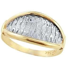 Fashion Band 14k White Yellow Gold Ring, Size 6.5 Jewel