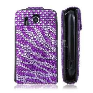 PURPLE ZEBRA LEATHER BLING FLIP CASE FOR HTC EXPLORER Electronics