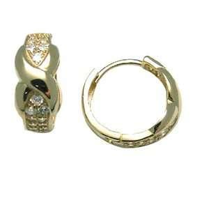 Criss Crossed Knot 14K Yellow Gold Huggie Earrings Jewelry