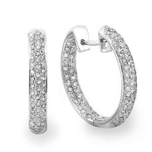 14k White Gold Round Diamond Pave Huggie Hoop Earrings (1.25 cttw, G H