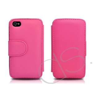 iPhone 4 and 4S Leather Flip Case   Pink Cell Phones & Accessories